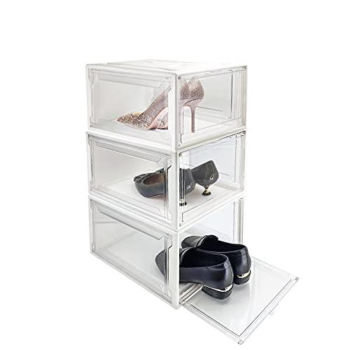 신발 컨테이너 아크릴 - 비 플라스틱 신발 상자 드롭 프론트 신발 상자 독립형 저장 용기 밑받침 구두 캐비닛 디스플레이 신발 쌓을 ??수있는 구두 주최자 쓰레기통 3PACK 크기 13