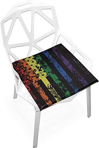 Mesllings - Cojín de asiento con diseño de bandera americana de arco iris, suave, antideslizante, espuma viscoelástica para silla de asiento, para el hogar, cocina, oficina, escritorio de 38 x 35 cm