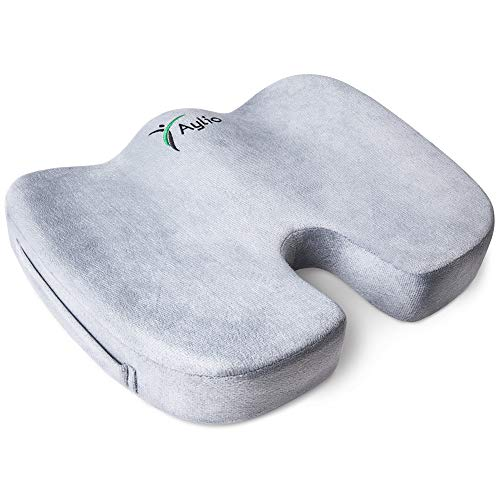 Aylio Coccyx Orthopedic Comfort Foam Seat Cushion for Lower Back, Tailbone and Sciatica Pain Relief...
