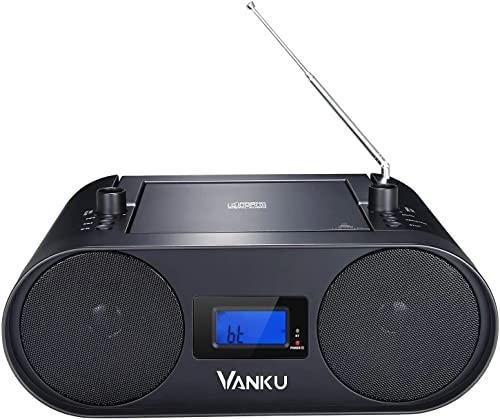 Vanku Radio Mit CD Player 2000 mAh Akku Unterstützt Bluetooth, USB, MP3, FM Radio, AUX-In, Sleep-Timer