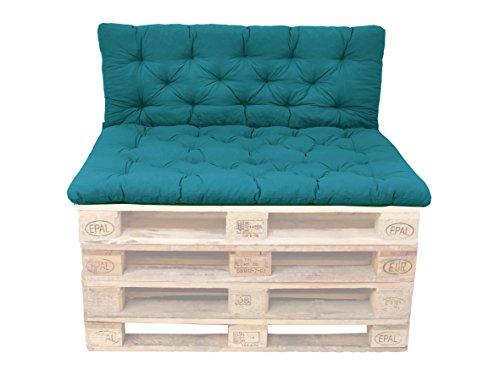 Ambientehome Palettenkissen mit Rückenlehne, blau, Sitzpolster 120 x 80, Rückenkissen 120 x 60 cm, Indoor & Outdoor