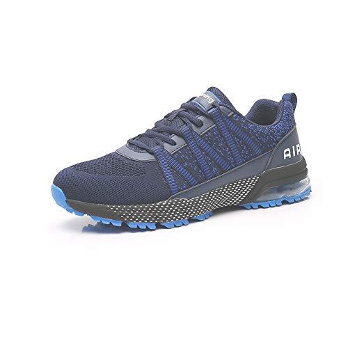 Zapatillas Running Hombre Mujer Zapatos Deporte para Correr Trail Fitness Sneakers Ligero Transpirable Dark blue36