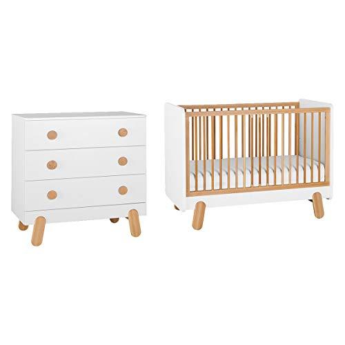Lit bébé 60x120 et Commode à langer Iga - Blanc et bois