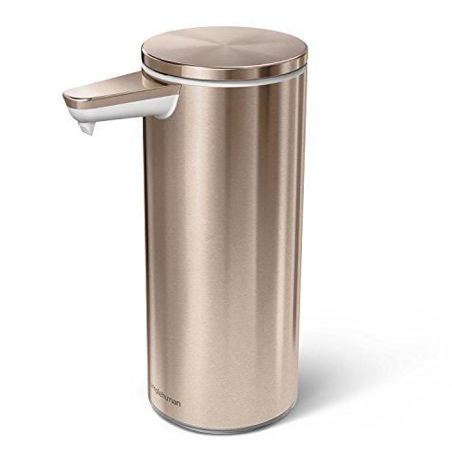 simplehuman 9 oz Liquid Soap Pump, Rose Gold Stainless Steel Touch-Free Sensor Dispenser