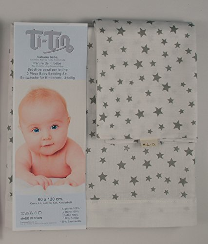 Ti TIN 3-delat sängset – påslakan för spjälsäng, 50 x 80 cm | påslakan + dra-på-lakan med elastiskt band + örngott, 100 % bomullspoplin för spjälsäng, stjärndesign, grå