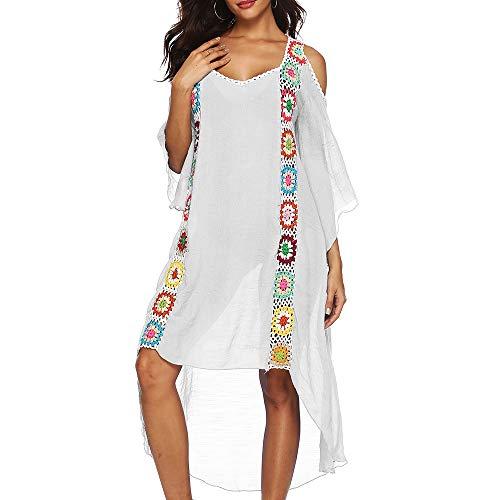 MUYOS Vestido de Playa Boho, Mujer Trajes de Baño Vestido Slub Crochet Bikini Cover Up V Cuello de Tirantes de Mujeres de Playa del Verano de Bikini Cubrir Camisolas Blanco XXL