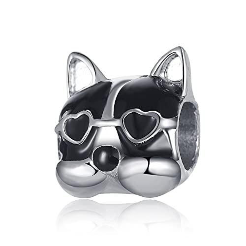Pandora 925 joyería de plata esterlina colgantes novo bonito óculos pingente de cão contas adequado para charme pulseira senhoras jóias fazendo presentes