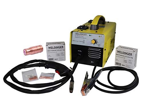 WELDINGER M 130 mini Flux Fülldrahtschweißgerät + je 1kg 0,6/0,8mm Fülldraht + Fülldraht-Gasdüse + Stromdüsen 5 Jahre Garantie