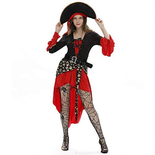 Halloween Kostüm Erwachsene Set, Plus Größe Außenhandel Der Europäischen Und Amerikanischen Damen Halloween Sexy Uniform Piratin Kostüm Cosplay,Rot,XXL