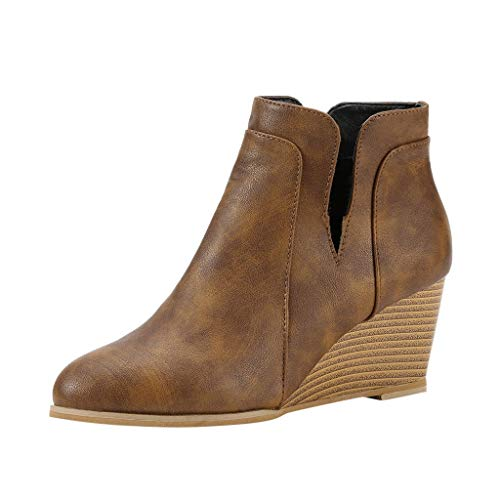 Best Buy! COPPEEN Women Sandals Ladies Girls Fashion Retro Solid Wedges Short Boots Zip Casual Shoes...