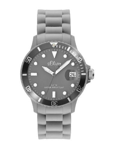 s.Oliver Unisex-Armbanduhr Medium Size Silikon grau Analog Quarz SO-1994-PQ