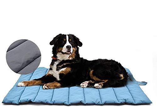 XIAPIA wasserdichte Hundematte für Outdoor, Waschbares Hundebett, Antistatik, Hygienisch, Faltbar, Große Reisedecke für Haustier 110 x 68 cm (Blau/Grau)