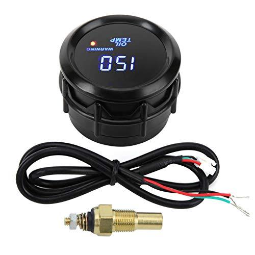 Termómetro de aceite EVTSCAN, termómetro de aceite de 52 mm con sensor 40~150 ℃ Indicador de temperatura con pantalla digital LED azul
