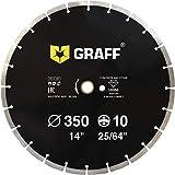 GRAFF® Universal Diamanttrennscheibe 350mm Stein, Beton. Trennscheibe für Beton, Stein, Ziegel, Pflasterplatte. Zubehör für Winkelschleifer, Tisch- und Benzinmotorsägen (350 mm)