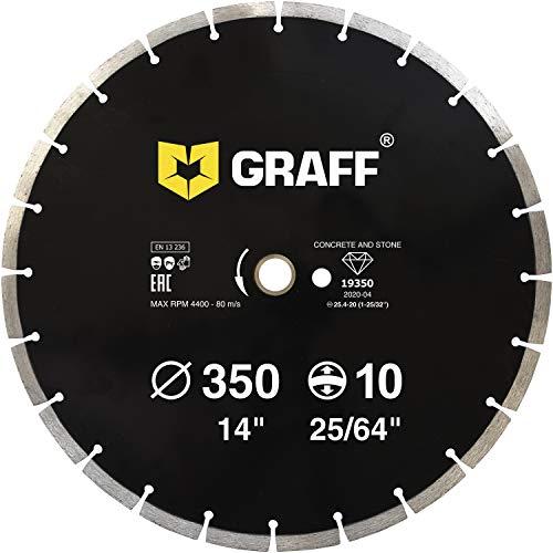 GRAFF Diamantscheibe 350mm für Beton, Granit, Bordstein, Natur- und Kunststein - Standard Diamanttrennscheibe für Winkelschleifer und Flex - Segmenthöhe 10mm