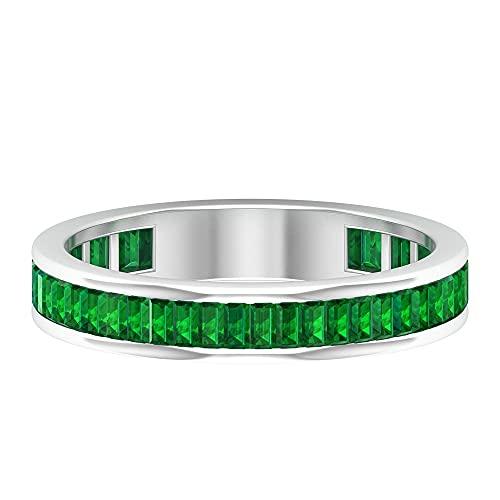 Baguette - Anillo de piedras preciosas para mujer, anillo de semireternidad, oro blanco, Metal precioso. Piedra preciosa. Piedra, Diamante negro creado en laboratorio,