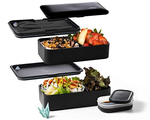 Atthys® - Fiambrera negra mate | Diseño japonés Bento 3 Place Settings Gratis | Bento Box 2 Compartimentos Herméticos 1200 ML | Lavavajillas Microondas | Fiambrera de madera para adultos o niños
