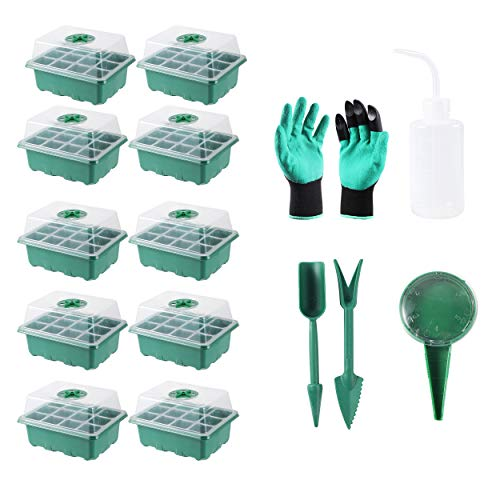 120(10X12)Cells Seedling Starter Trays Kit Green House Supplies Seed Trays with Dome and Base, Plus Planting Tools and Gardening Glove 12 Cells per Tray