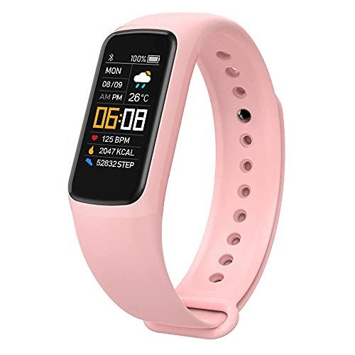 Reloj Inteligente, Fitness Impermeable Reloj Deportivo Rastreador de Actividad Pulsera Inteligente con MonitorizacióN Frecuencia CardíAca PresióN Arterial Y SueñO para Hombres Y Mujeres Color Rosa