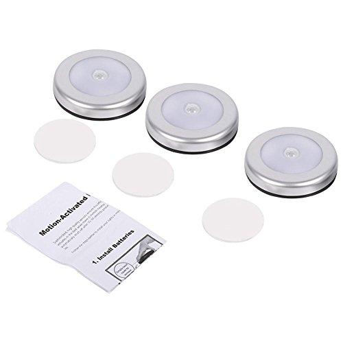 Jadpes Luz del Sensor, 3Pcs Sensor de Movimiento automático PIR inalámbrico Luz Nocturna 6 LED Lámpara de batería de Cuerpo Redondo