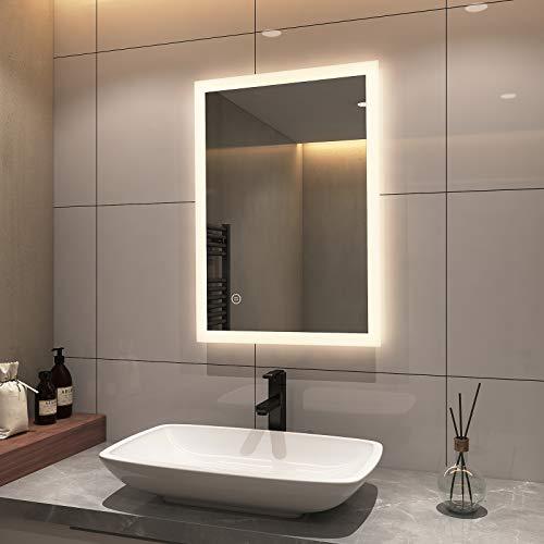 EMKE 80 x 60 cm LED-Badezimmerspiegel mit Demister, LED-Badspiegel mit Touch-Schalter, wasserdicht, für Make-up, Kosmetik, Rasur