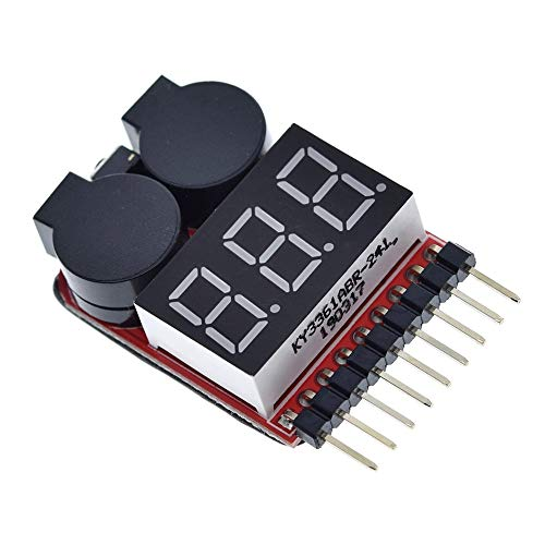 Li-ion 1-8S Lipo Fe Battery Voltage 2IN1 Indicator Tester Low Voltage Zoemeralarm for RC Car Boot LED 3.7-30V Dual Speaker