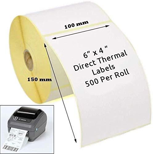 10 rotoli (5000 etichette) di etichette per stampa termica diretta, colore: bianco, 100 x 150 mm, per stampante Zebra GK420D GX420D GK420T