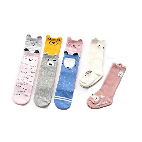 Lingqiqi Chaussettes Anti-Glisse 3 Paires de Chaussettes Hautes pour bébé Fille garçon Genou Uniformes bébé et Enfant en Bas âge Bébé en Bas âge (Couleur : Seesaw Pink Fox, Taille : M)
