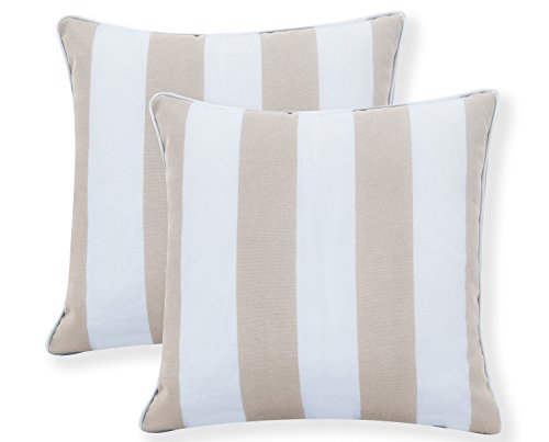 Ornavo Home Water Resistant Indoor/Outdoor Square Patio Decorative Stripe Throw Pillow Cushion - Insert Included - Set of 2-18' x 18' - Beige