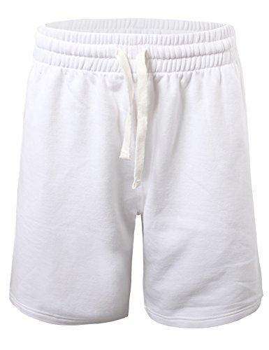 ProGo Men's Casual Basic Fleece Marled Shorts Pants with Elastic Waist (White, Medium)