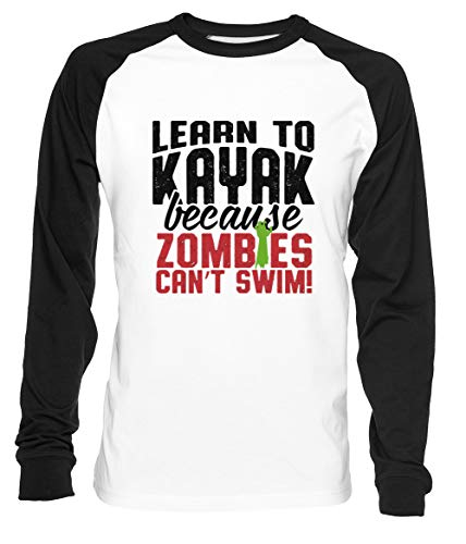 Learn To Kayak Because Zombies Can't Swim - Kayaking Hombre Mujer Unisex Camiseta De Béisbol Blanca Negra Women's Men's Unisex Baseball T-Shirt
