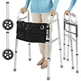 Vive Mobility Folding Walker (Plus Bag and 2 Wheels) - Front Wheeled Support, Narrow 23 Inch Wide - Adjustable, Lightweight Portable, Compact Elderly, Handicap Medical Walking Aid - Push Button Close