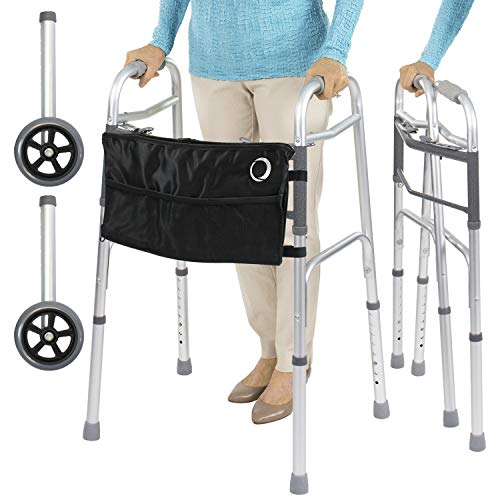 Vive Mobility Folding Walker (Plus Bag and 2 Wheels) - Front Wheeled Support, Narrow 23 Inch Wide - Adjustable, Lightweight Portable, Compact Elderly, Handicap Medical Walking Aid (with Black Bag)