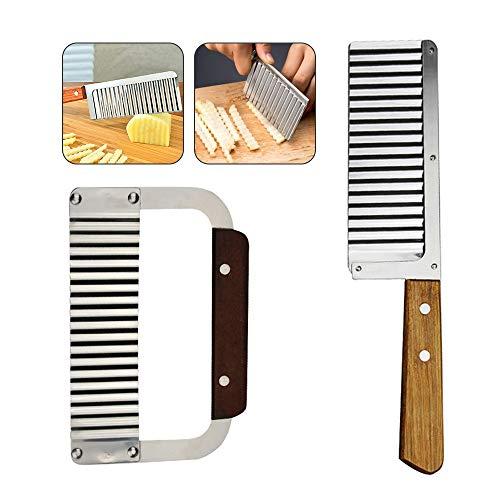 DMFSHI Wellenschneider, Crinkle Cutter, Welliges Crinkle-Messerset, 2 Stück Holzgriff Edelstahlklinge Küchengemüsestreifen Wellpappenschneider (Silber)