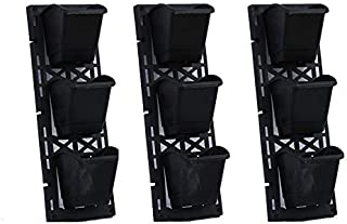 Minerva Naturals Vertical Wall Garden Panel with Hanging 9 Pots (Black)
