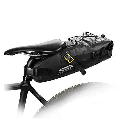 Jybhsh Bicicleta Bicicleta Impermeable Bolsa de sillín de Gran Capacidad Reflectante Plegable Cola Volver Bolsa de la Bici de montaña Maletero Negro Accesorios Bici