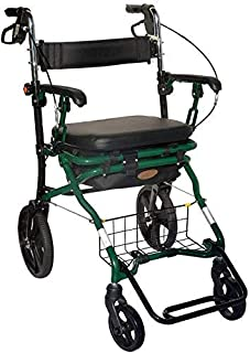 Walking Frame Walker Walking Frame Aid Lightweight Mobility Foldable with Seat And Bag 4 Wheels