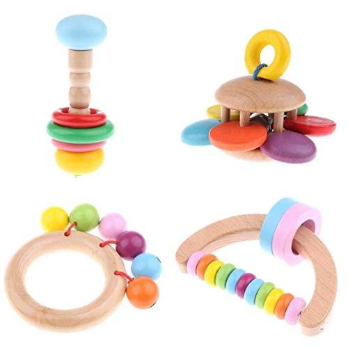 Liadance 4pcs Bebé Traqueteo De Madera Bell De Mano Que Agarra Juguete Educativo del Traqueteo para Los Niños
