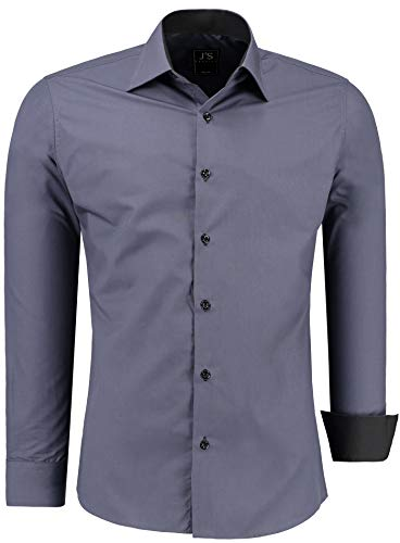 J'S FASHION Herren-Hemd - Vergleichssieger 2019* - Slim-Fit - Langarm-Hemd - Bügelleicht - EU Größen: S bis 6XL - Anthrazit L