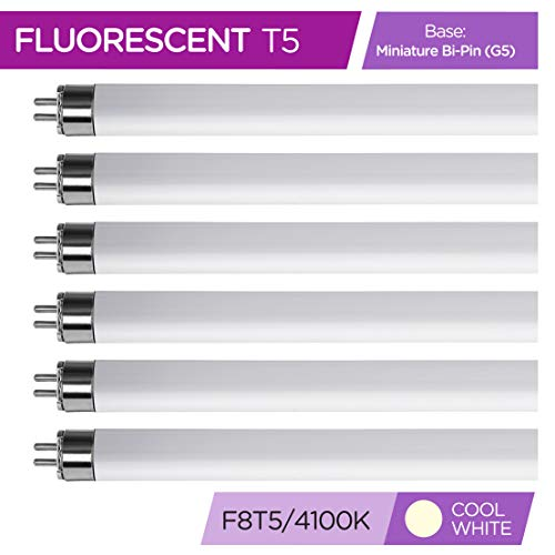 6 pack 4100K Cool White - F4T5//CW 6 Straight Fluorescent Tube Light Bulb 4 Watt Triangle Bulbs T30003 6 Pack T5