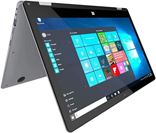 Ordinateur Portable PC-Convertible Hybride 2-en-1 - Winnovo VokBook 13.3 Pouces Windows 10 Intel Celeron 4 Go RAM+32 Go eMMC+128 Go SSD Resolution de 1920x1080 FHD IPS Clavier QWERTY (Argent) …