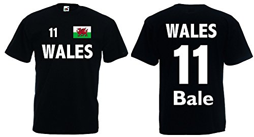 World-of-Shirt Herren T-Shirt Wales EM 2016 Trikot Bale Nr.11|schwarz-S