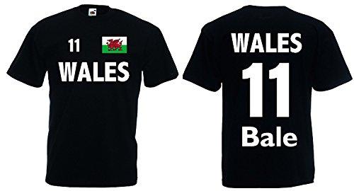 World-of-Shirt Herren T-Shirt Wales EM 2016 Trikot Bale Nr.11|schwarz-M