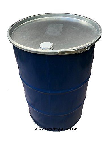 200 Liter Metallfass mit Deckel Stahlfass Feuertonne Metalltonne Fass Blechfass Stehtisch Regenfass Regentonne Ölfass