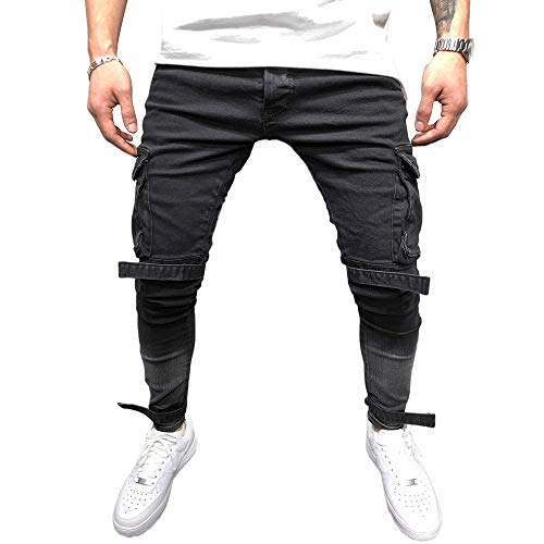 Gescheurd Jeans Heren - BMEIG Skinny Stretch Denim Broeken Verontruste Slim Fit Broeken Patchwork Zak Joggingbroek Werk Hiphop Cargo Joggingbroek M-4XL
