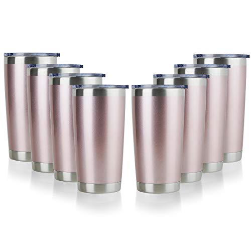 DOMICARE 20oz Stainless Steel Tumbler with Lid, Double Wall Vacuum Insulated Travel Mug, Powder Coated Coffee Cup, Rose gold, 8 Pack