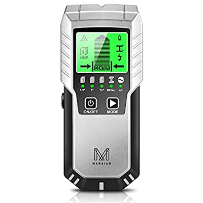 Stud Finder Wall Scanner - M MARSIAN 5 in 1 Wall Scanner with LCD Display & Auto Calibration, Beam Finder Center Finding & Sound Warning for Wood AC Wire Metal Studs Detection