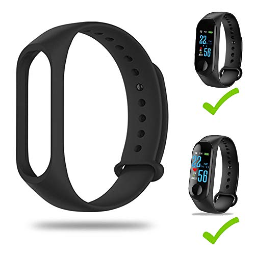 BATHRINS Strap for M3 Bracelet Band Original Compatible for Lefun Health App Replacement of Smart Watches Silicone Bracelet (Black)