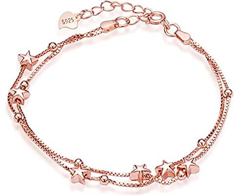 *Beforya Paris* - Infinity Star - Pulsera ajustable - con circonitas - De plata 925 / chapado en oro rosa - Preciosa pulsera para mujer con caja de regalo.