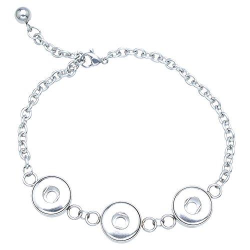 Soleebee Einstellbar Silberfarbe Legierung Strass 3-Löcher Click Button Armband passt 12mm Click Button